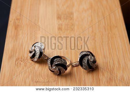 Diamond Ring And Earrings. Luxury Female Jewelry