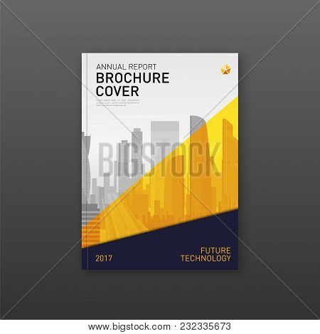 Brochure Cover Design Template For Construction Or Real Estate Company. Abstract Minimalistic Geomet