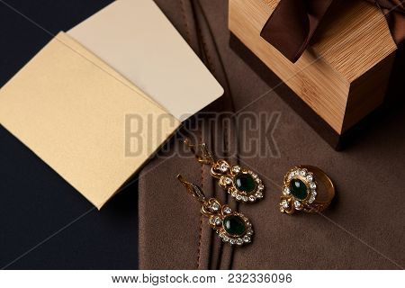 Diamond Ring And Earrings With Emerald With Gift Box And Shopping Bag And Card With Copy Space For Y