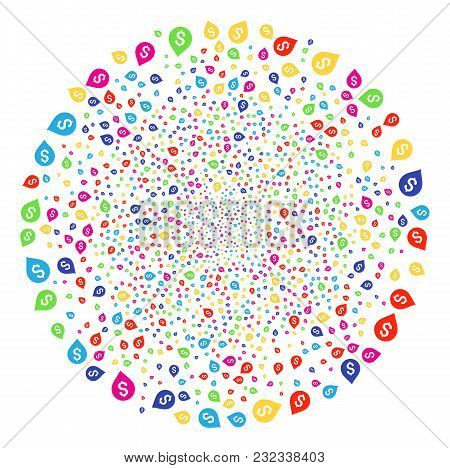 Colorful Banking Map Marker Sparked Round Cluster. Vector Round Cluster Bang Designed By Scattered B