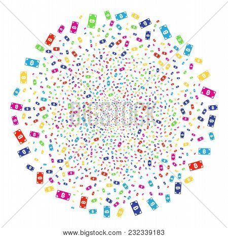 Psychedelic Bitcoin Cash Banknote Carnival Round Cluster. Vector Globula Salute Organized By Scatter