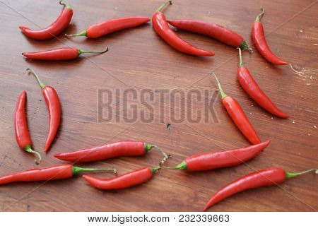 Red chili pepper on the table