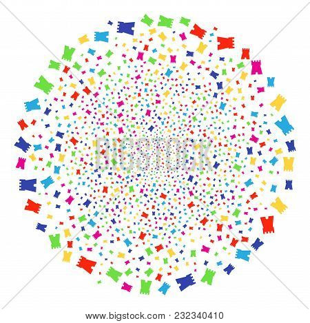 Multicolored Bulwark Tower Decoration Round Cluster. Vector Round Cluster Explosion Done From Random