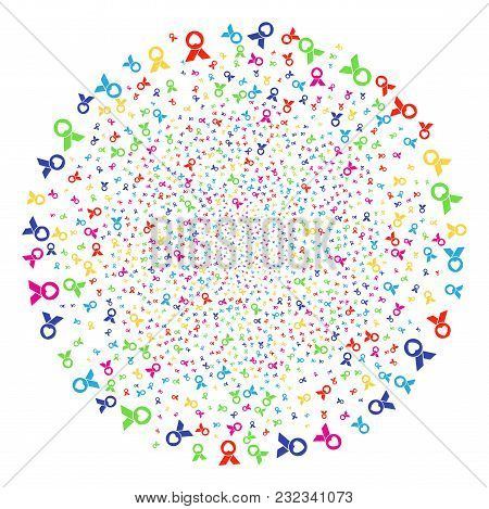 Multicolored Care Award Festival Sphere. Vector Round Cluster Bang Organized By Random Care Award It