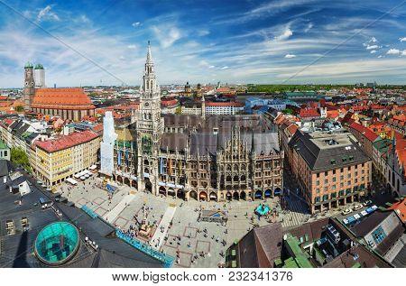 Aerial fish eye view of Munich - Marienplatz, Neues Rathaus and Frauenkirche from St. Peter's church. Munich, Germany