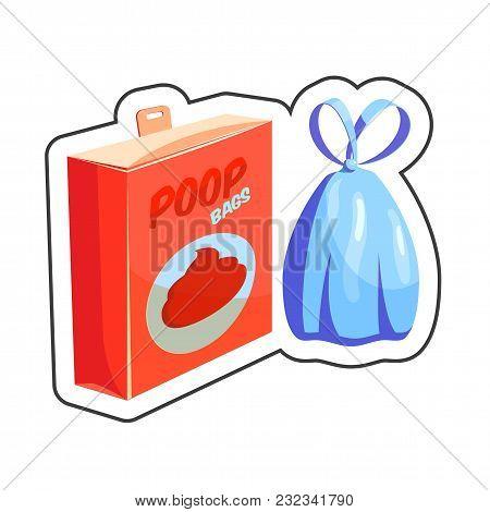 Dog Poop Bags Cartoon Sticker Vector Illustration For Pet Shop