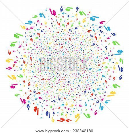 Multi Colored Cigarette Smoke Fireworks Globula. Vector Spheric Cluster Fireworks Organized With Ran