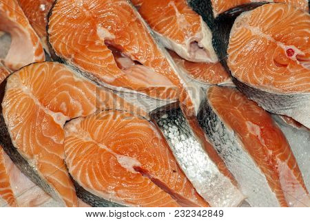 Background - Raw Salmon Steaks Close Up