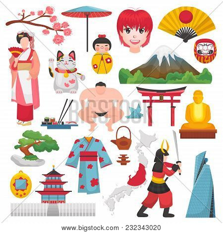 Japan Vector Japanese Culture And Geisha In Kimono With Blossom Sakura In Tokyo Illustration Set Of