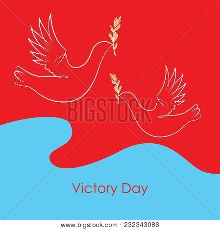 Background To Create A Festive Printing. The Dove Carries A Laurel Branch In Its Beak