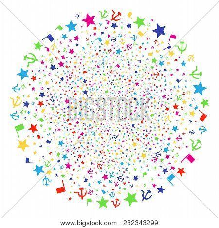 Psychedelic Communism Festive Cluster. Vector Sphere Burst Organized From Random Communism Items. Mu