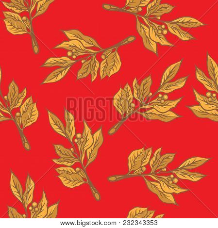 Seamless Pattern To Create A Festive Printing. Laurel Branch.