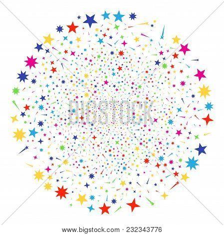Multi Colored Confetti Stars Sparkler Globula. Vector Cluster Salute Done With Random Confetti Stars