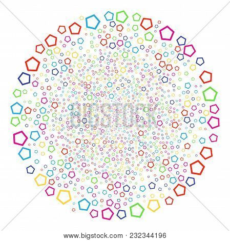 Multicolored Contour Pentagon Sparkler Sphere. Vector Spheric Cluster Salute Done By Randomized Cont