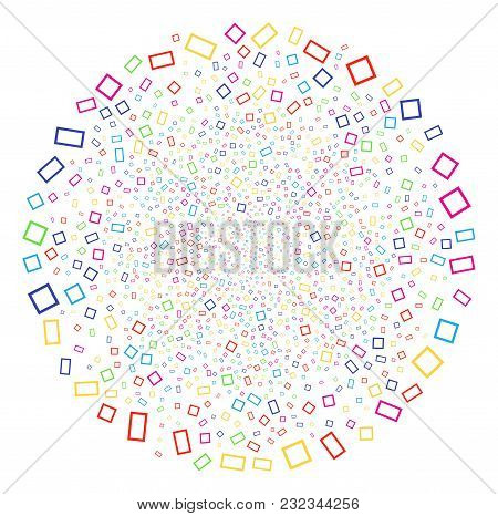 Multicolored Contour Rectangle Sparkler Cluster. Vector Round Cluster Explosion Organized From Rando