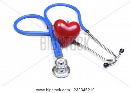 Red Heart And A Stethoscope On White Background.