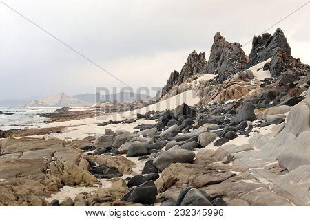 Abd al Kuri island rocks and beach in Socotra archipelago, Yemen