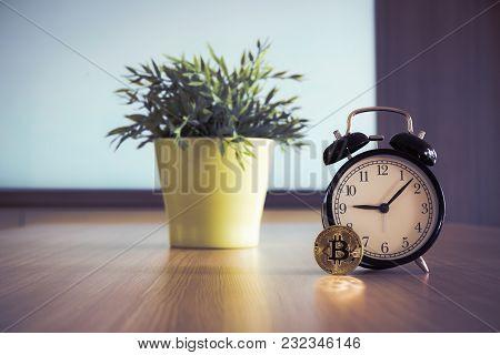 Bitcoin And Alarm Clock, Business Stock Concept.
