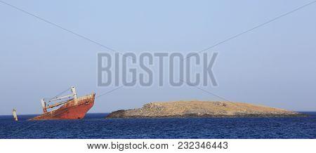 Abandoned broken ship wreck near Kythira island