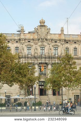 The Facade And Main Etrance Of The Postal And Telegraph Building (correos Y Telegrafos) In The Gothi