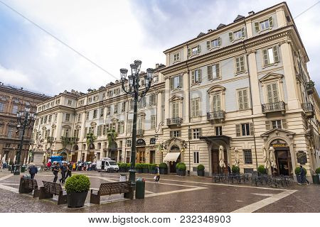 Turin, Italy - June 14, 2016: Carignano Theatre On Piazza Carignano In Turin Old Town. One Of The Ol