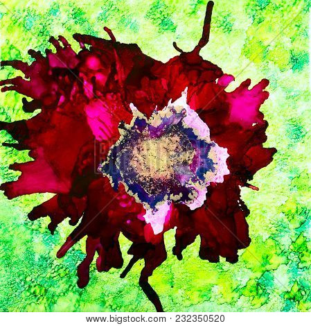 Abstract Red Poppy Done In Alcohol Inks With Gold Mica In The Center.