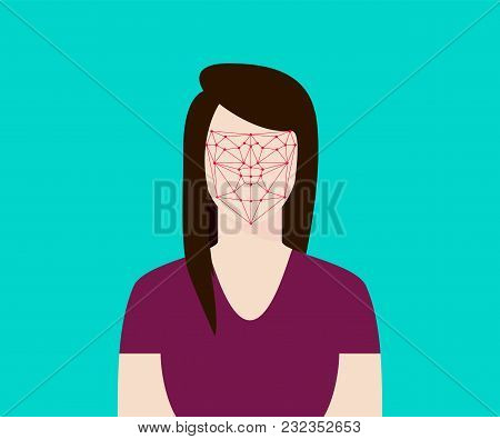 Facial Recognition Women With Face Tracking Point Vector Graphic Illustration