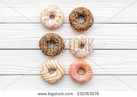 Sweet Lunch With Glazed Donut On White Wooden Table Background Flat Lay Mockup