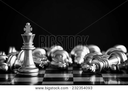 Strategy Chess Battle Intelligence Challenge Game On Chessboard. Success The Chess Strategy Concept.