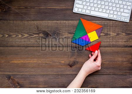 Pieces Of Bright Paper For Puzzle On Wooden Office Desk Background Top View Mockup