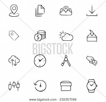 Doodle Office Icons Set For Website Design