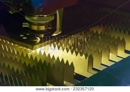 The Fiber Laser Cutting Machine Cutting The Metal Plate.