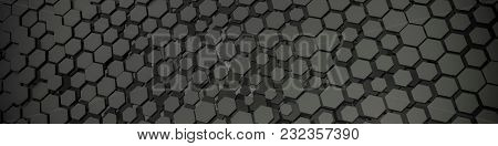 3d illustration of a grey hexagon background