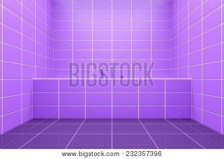 3d rendering of a purple tiled bathroom side view to the tub