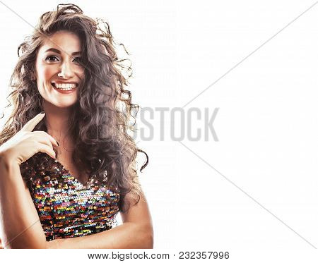 Young Brunette Woman With Curly Hairstyle In Fancy Glamur Dress Isolated On White Background Gesturi