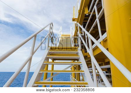Staircase On Oil And Gas Plant. Offshore Plateform