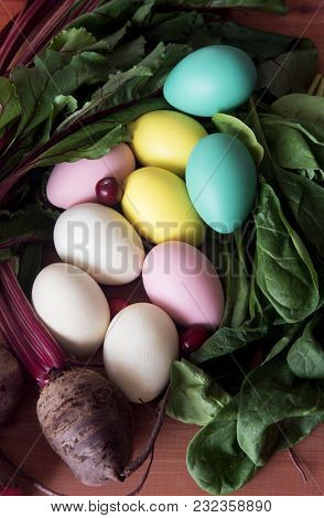Easter Eggs Painted With Natural Dye From Beet And Spinach