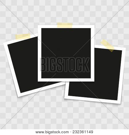 Set Of Vintage Photo Frames With Tape On Transparent Background. Vector