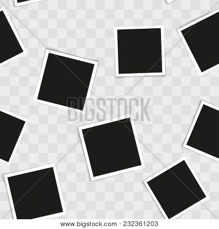 Seamless Pattern With Vintage Photo Frames On Transparent Background. Vector