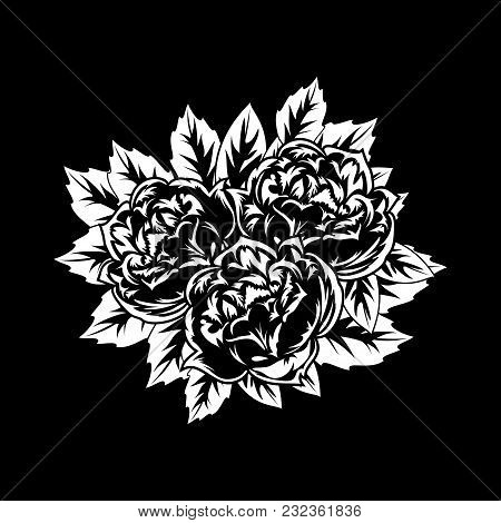 Bouquet Of Flowers Monochrome For Postcards, Congratulations, Price Tags
