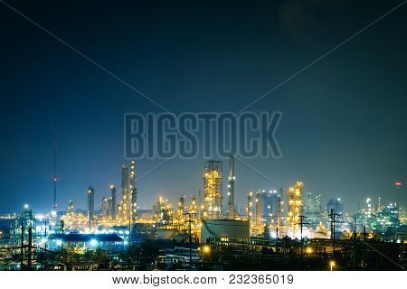Glitter Lighting Of Petrochemical Industry Estate With Night