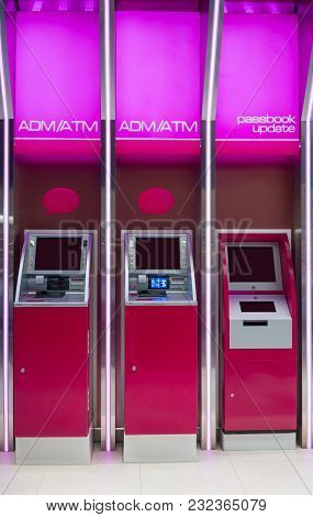 Pink Atm Machines And Passbook Update Machine. The Station Automatic Machines.