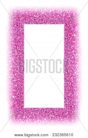 Fancy Pink Glitter Sparkle Confetti Background For Happy Birthday Party Invite, Picture Frame, Princ
