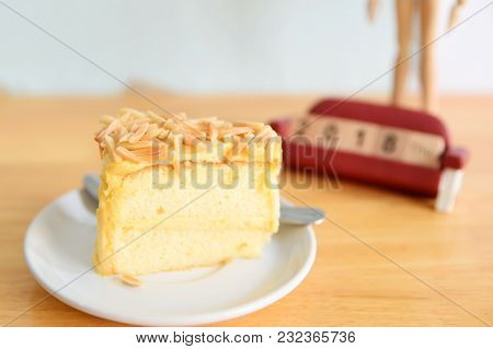 A Slice Of Cake (palmyra Sugar Cake) On Wooden Table.