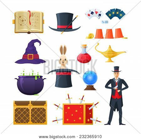 Set Of Magic, Magician Performance, Illusionist Magician In Clothing With Tools And Accessories. Wiz