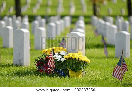 Washington DC / United States - National flags ant headstones in Arlington National cemetery during Memorial Weekend