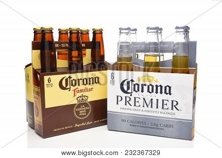 Irvine, California - March 21, 2018: A Six Pack Of Corona Premier And Familiar. The Imported Mexican