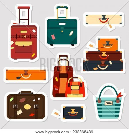 Travel Bags Stickers And Patches Collection Vector Illustration. Set Business Voyage Packing, Handle