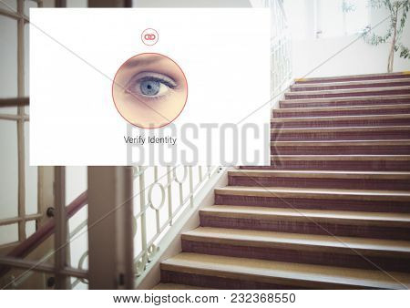 Digital composite of Identity eye Verify App Interface on stairs