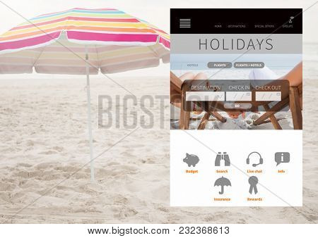 Digital composite of Holiday break App Interface on beach